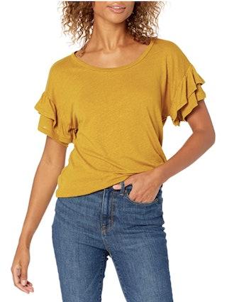 Goodthreads Linen Modal Short Sleeve Crewneck Ruffle Sleeve T-Shirt