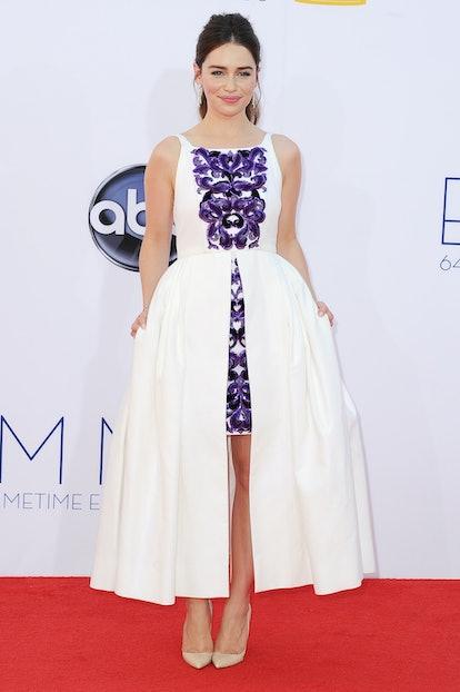 Actress Emilia Clarke arrives at the 64th Primetime Emmy Awards at Nokia Theatre L.A. Live on Septem...