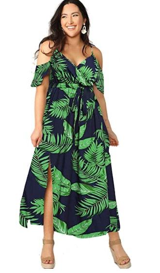 Milumia Women's Plus Size Cold Shoulder Split Maxi Dress