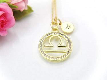 LeBuaJewelrytoo Libra Necklace, Scales Zodiac Gift