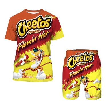 Cheetos Print Short Tops Shorts Two-Piece Outfit