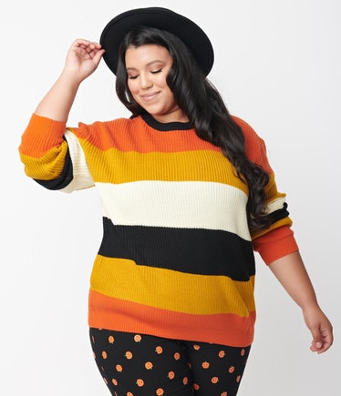 Plus Size Fall Stripe Chunky Knit Sweater