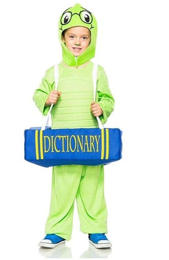 child in a book worm Halloween costume