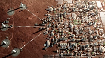 SpaceX's rendition of what a Mars city may look like.