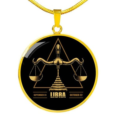Libra Astrological Zodiac Sign Necklace Stainless Steel or 18k Gold