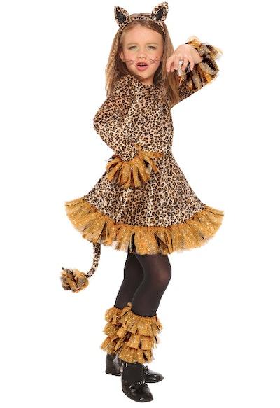 Girl wearing a leopard costume
