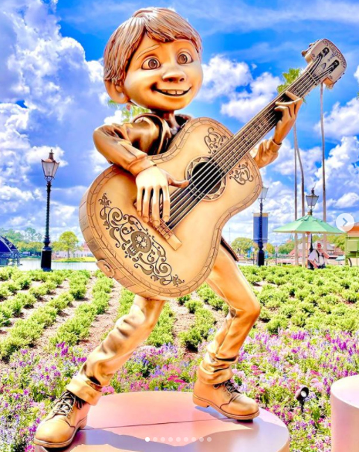 These photos of Disney's 50th anniversary gold character statues include Miguel from 'Coco.'