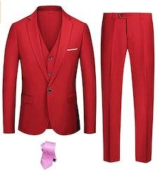 YND Men's Slim Fit 3 Piece Suit Set - RED