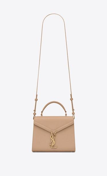 Dark Beige Cassandra Mini Top Handle Bag from Saint Laurent.
