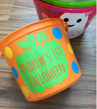 My First Halloween Bucket, Personalized Toddler Trick or Treat Buckets