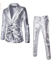 Men's 2 Piece Silver Suit