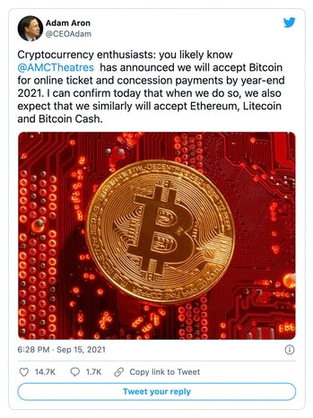 AMC will begin accepting multiple cryptocurrencies at its theaters.