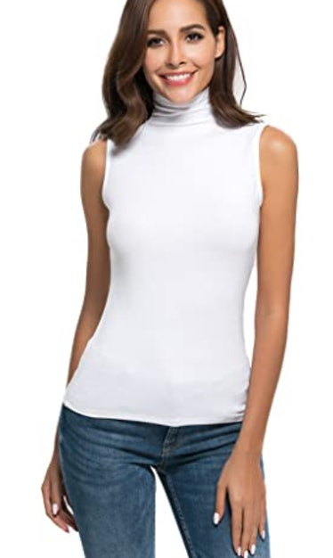 white sleeveless turtleneck tank top