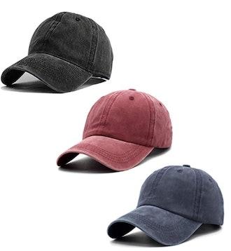 Unisex Vintage-Washed Baseball Cap (3-Pack)