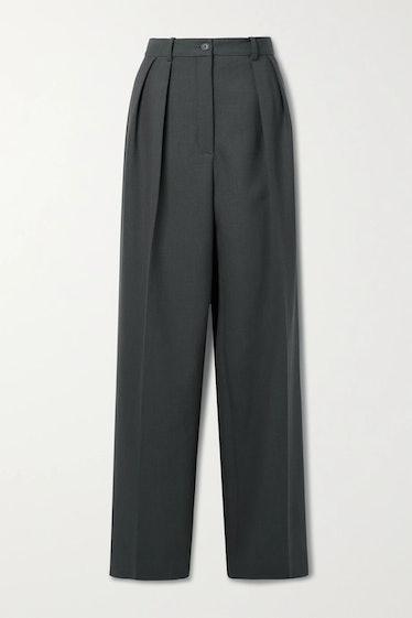 The Row's Igor pleated wide-leg wool pants.