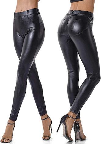SEASUM Faux Leather Leggings