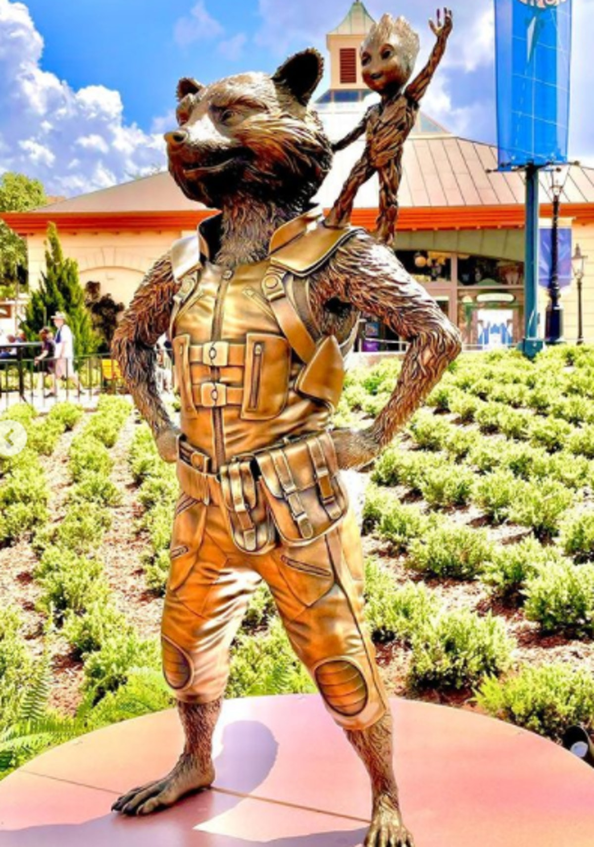 These photos of Disney's 50th anniversary gold character statues include Rocket and Groot from 'Guar...