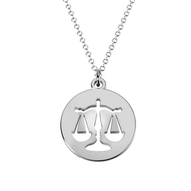 Libra Zodiac Sign Cutout Disc Necklace