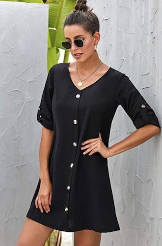 AlvaQ Button Down V Neck Casual Mini Dress