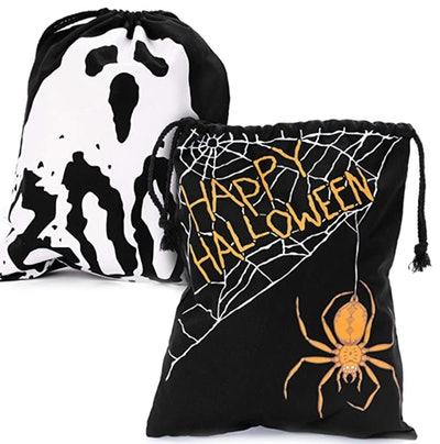 Boo! Ghost and Spooky Spider Trick or Treat Canvas Bags