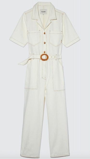 Nanushka's white belted jumpsuit.