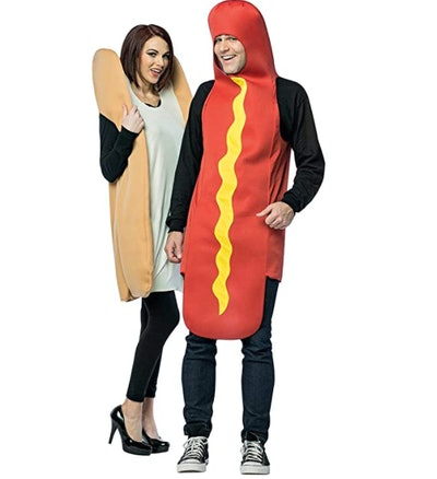 Woman dressed as bun and man dressed as hot dog