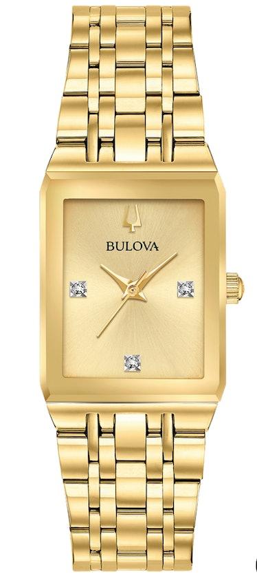 Bulova's gold tank Quadra watch.