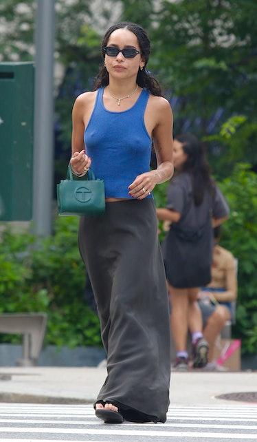 Zoe Kravitz with Telfar bag.