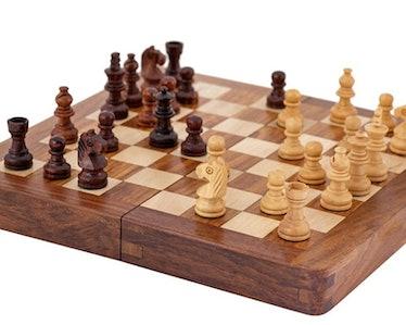 Harry Beltik Wooden Travel Chess Set Halloween Prop