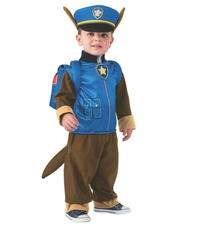 Toddler dressed as Chase from Paw Patrol