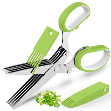 POROMI Herb Cutter Shears with 5 Blades and Cover