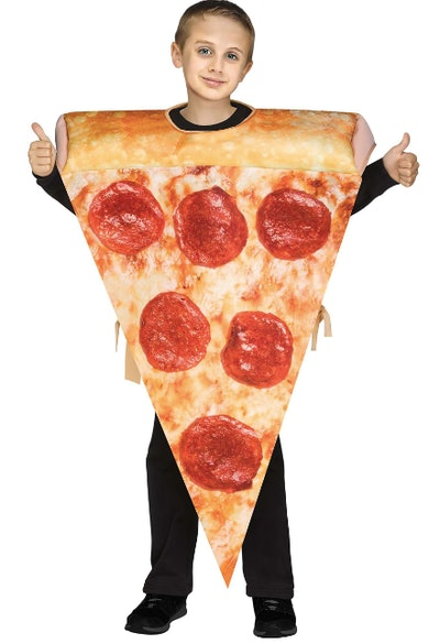 Child wearing a pizza slice costume