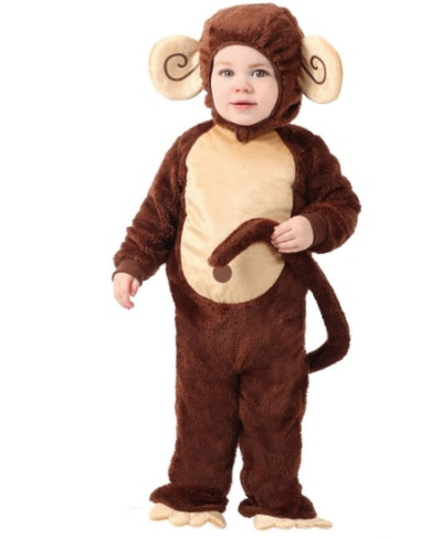 Toddler wearing a monkey costume