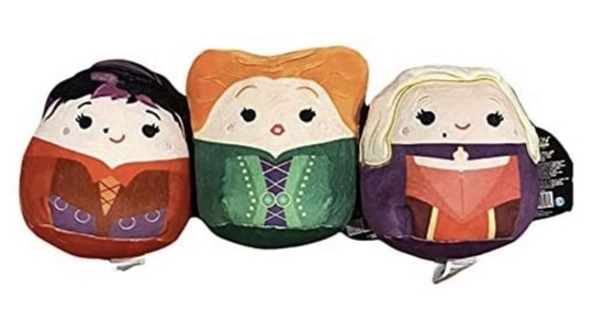 These 'Hocus Pocus' Squishmallows are in the shape of Winifred, Sarah, and Mary Sanderson.