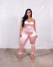 Light Pink Satin Jumpsuit