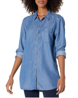 Daily Ritual Relaxed Fit Tencel Long-Sleeve Button-up Tunic