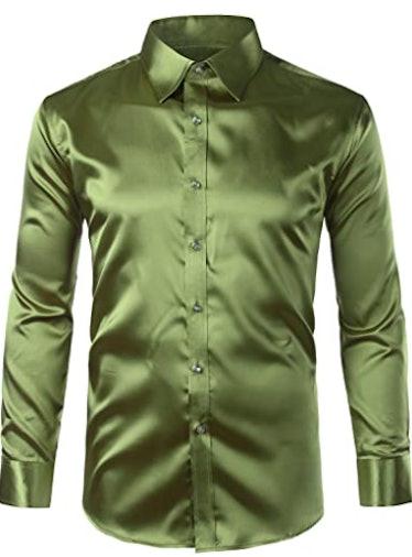 Men's long-sleeve green silk dress shirt