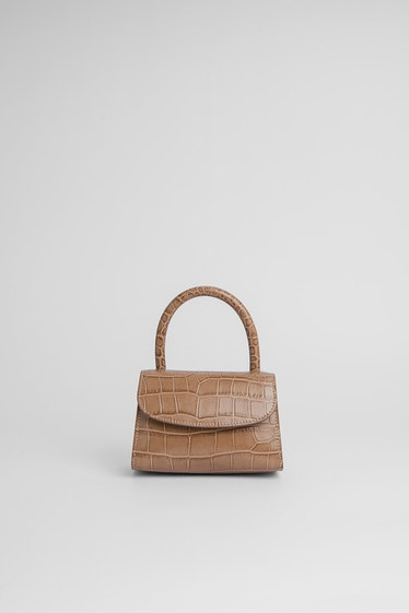 Mini Taupe Croco Embossed Leather Bag from BY FAR.