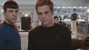 Zachary Quinto as Spock and Chris Pine as Kirk in Star Trek.