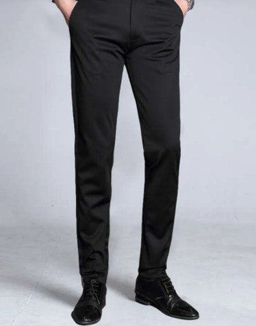 men's black solid tailored pants
