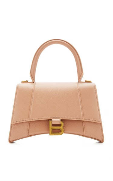 Beige Hourglass S Leather Top Handle Bag from Balenciaga, available to shop on Moda Operandi.