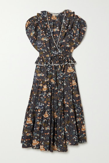 Olga Ruffled Asymmetric Floral-Print Cotton-Poplin Midi Dress