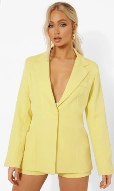 yellow fitted tailored blazer