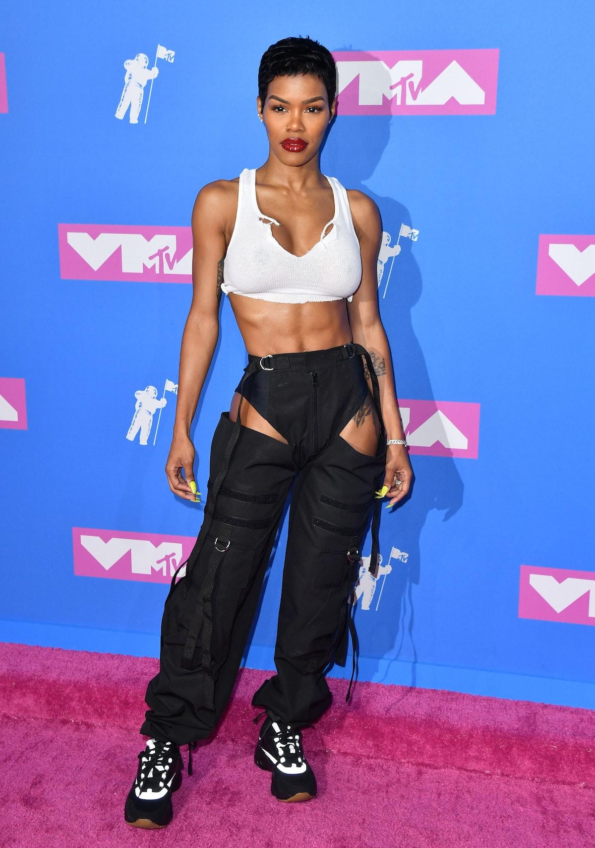 تیانا تیلور در مراسم اهدای جوایز موسیقی MTV 2018 در سالن رادیو سیتی موزیک در 20 آگوست 2018 در ...