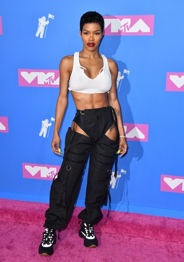 Teyana Taylor attends the 2018 MTV Video Music Awards at Radio City Music Hall on August 20, 2018 in...