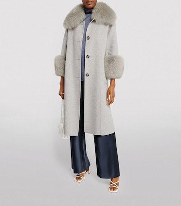 Harrods Longline Fur-Trim Coat
