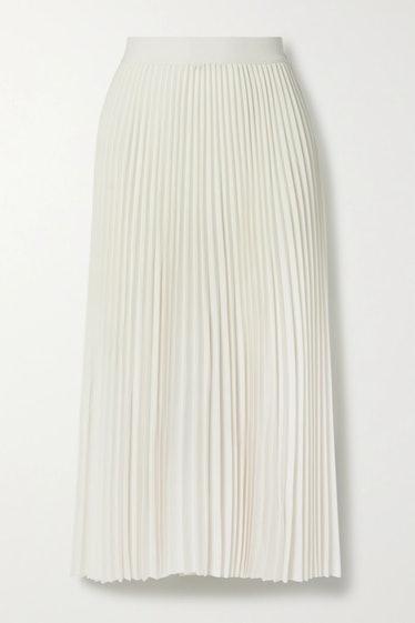 CO Pleated Twill Midi Skirt