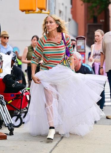 Sarah Jessica Parker in a large tutu skirt.