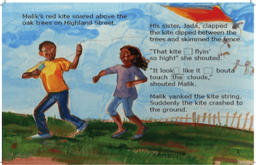 A boy and a girl fly a kite, and their words move between AAVE and formal English