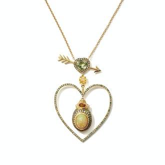 Daniela Villegas Beaming Love Diamond, Opal, 18KT Gold Necklace